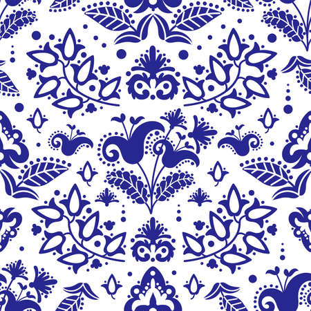 ETHNIC TATAR BLUE Oriental Doodle Retro Ornament Seamless Pattern Vector Illustration Set For Print Ilustracja