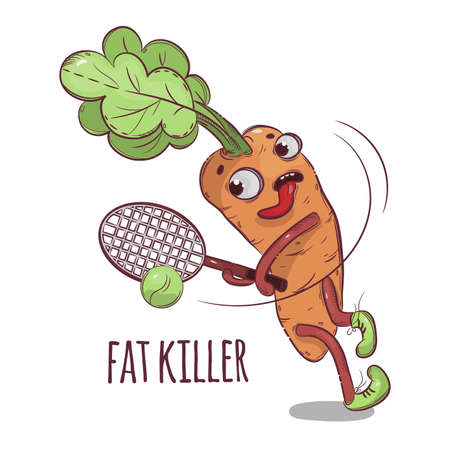 CARROT FAT KILLER Cartoon Tennis Sport Vegetable Health Nutrition Paleo Keto Diet Botanic Hand Drawn Vector Illustration For Print
