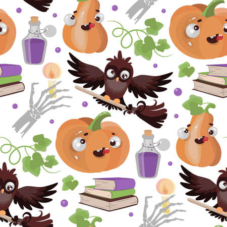 HALLOWEEN OWL Pumpkin Flat Design Funny Cartoon Hand Drawn Seamless Pattern Vector Illustration For Print