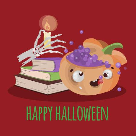 HALLOWEEN BOOKS Pumpkin Animal Funny Flat Design Cartoon Hand Drawn Vector Illustration Set For Print