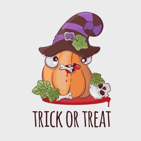 ROBBER PUMPKIN Halloween Funny Flat Design Cartoon Hand Drawn Vector Illustration Set For Print