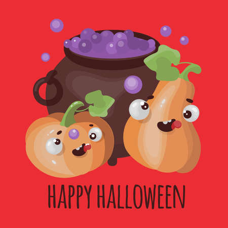 PUMPKIN AND CAULDRON Halloween Mystic Funny Flat Design Cartoon Hand Drawn Vector Illustration For Print Ilustração