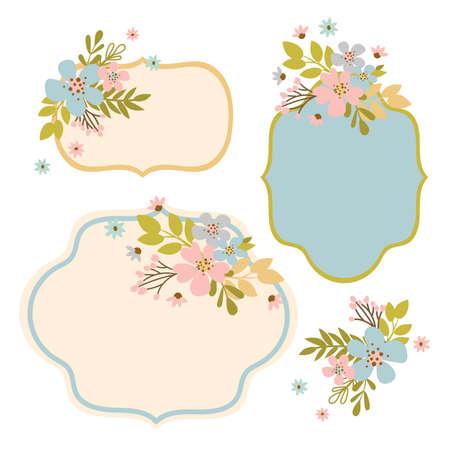 FLOWER FRAMES Floral Hand Drawn Modern Isolated Template Vector Illustration Set For Creating Greeting Cards Illusztráció