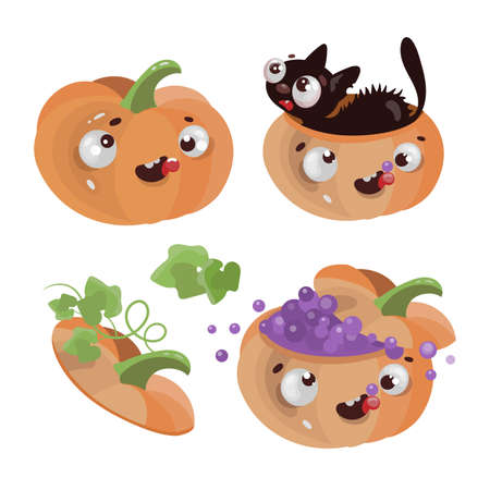 FUN PUMPKINS Happy Halloween Holiday Cartoon Hand Drawn Flat Design Vector Illustration Apparel Set For Print Ilustração