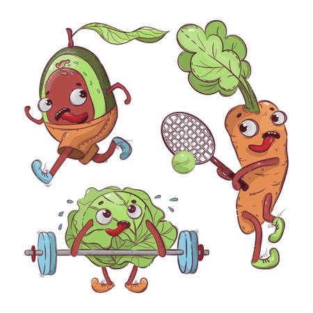 SPORT VEGETABLES Cartoon Health Nutrition Hand Drawn T-shirt Vector Illustration Set For Print Illusztráció