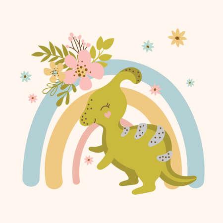 DINO FLOWER Hand Drawn Flat Design Grunge Style Cartoon Prehistoric Animal Rainbow Vector Illustration For Apparel Print