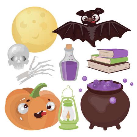 HALLOWEEN MAGIC Hand Drawn Flat Design Cartoon Clip Art Wonderland Horror Holiday Vector Illustration Set For Print Ilustração