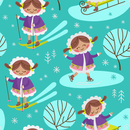 ALASKA GIRL Eskimo Winter Child Characters Comic Funny Flat Design Cartoon Hand Drawn Seamless Pattern Vector Illustration For Print 向量圖像