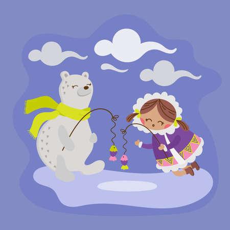 ALASKA BEAR Eskimo Girl Winter Child Comic Funny Animal Flat Design Cartoon Hand Drawn Vector Illustration Set For Print