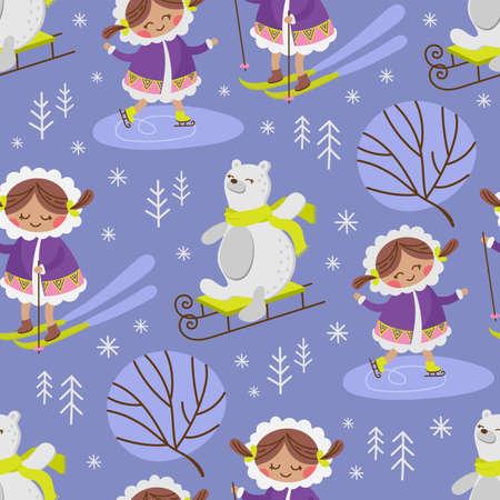 ESKIMO SKETCH Winter Alaska Girl Comic Funny Animal Flat Design Cartoon Hand Drawn Seamless Pattern Vector Illustration For Print