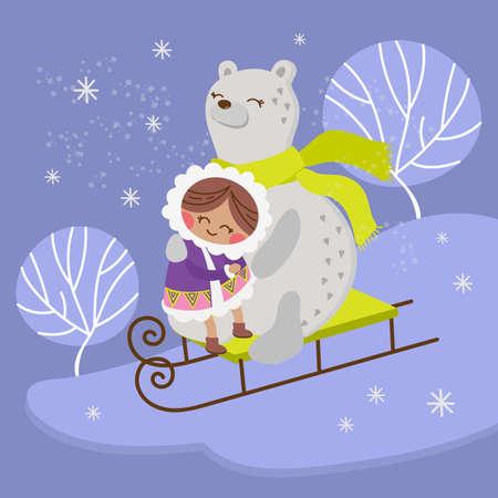 ESKIMO BEAR Alaska Girl Winter Child Comic Funny Animal Flat Design Cartoon Hand Drawn Vector Illustration Set For Print 向量圖像