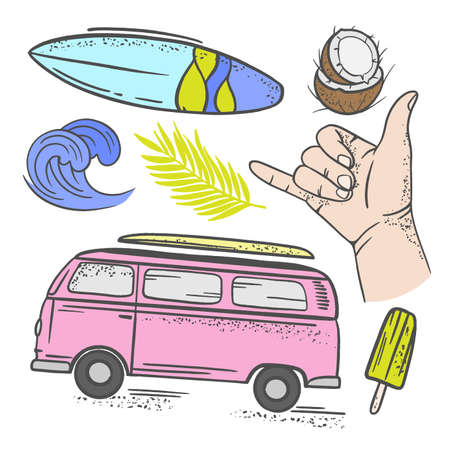SURFING VACATION Tropical Summer Cruise Sea Beach Travel Relax Hand Drawn Clip Art Vector Illustration Set For Print