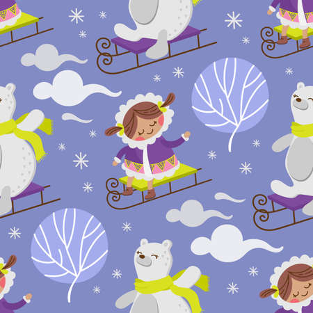 ESKIMO GIRL BEAR Winter Child Comic Funny Flat Design Cartoon Hand Drawn Seamless Pattern Vector Illustration For Print