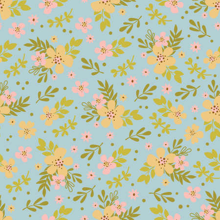 FLORAL DRESS Hand Drawn Flat Style Flower Holiday Cartoon Seamless Pattern Vector Illustration For Textile Print