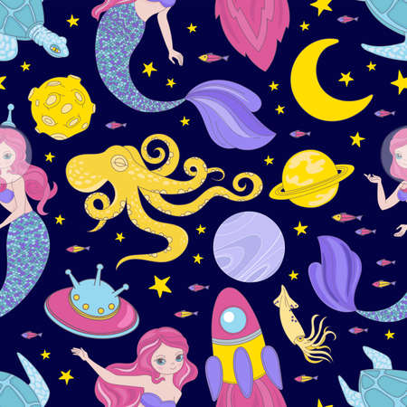 SPACE CLOTH Cartoon Cosmos Sea Galactic Mermaid Princess Journey Traveling Seamless Pattern Vector Illustration For Print