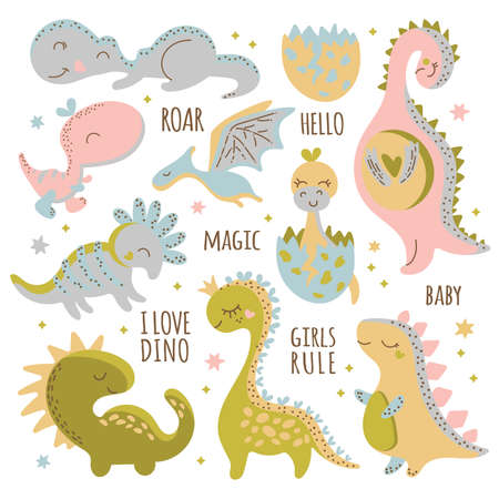 DINO CHARACTERS Birthday Flat Design Hand Drawn Cartoon Cute Animal Vector Illustration Clip Art Set For Print