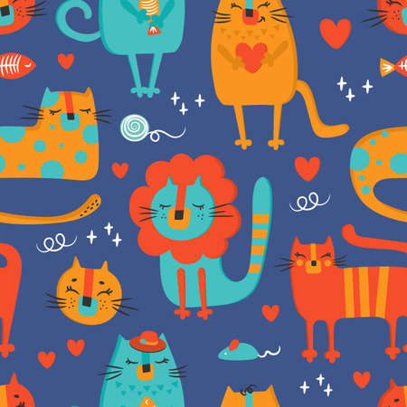 CAT CLOTH Hand Drawn Flat Design Cartoon Zoo Circus Cute Animal Seamless Pattern Vector Illustration For Print Illusztráció