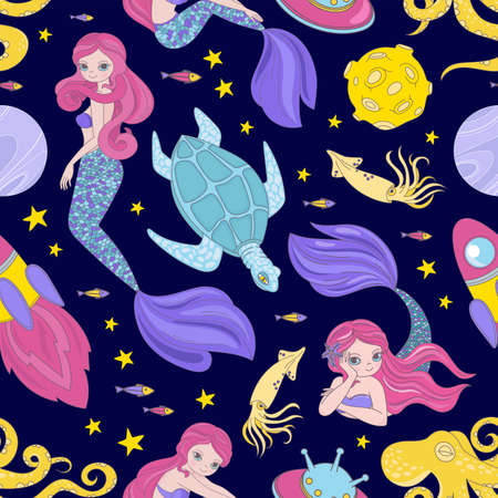 MERMAID CLOTH Cartoon Space Sea Cosmos Galactic Princess Journey Traveling Seamless Pattern Vector Illustration For Print