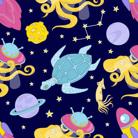 UNIVERSE CLOTH Cartoon Cosmos Space Sea Galactic Ocean Journey Traveling Seamless Pattern Vector Illustration For Print