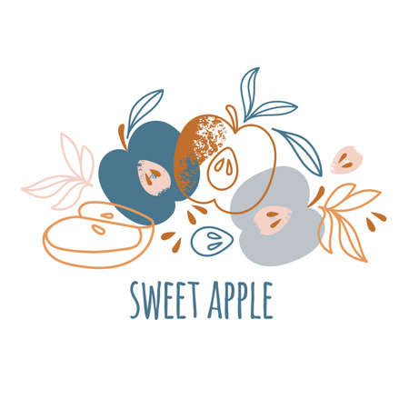 SWEET APPLE Delightful Garden Fruit Nature Hand Drawn Flat Design Vector Illustration For Print Illusztráció