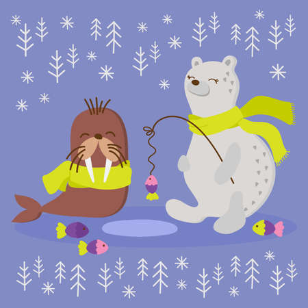 ALASKA WALRUS Winter Fishing Polar Bear Comic Funny Animal Flat Design Cartoon Hand Drawn Vector Illustration Set For Print
