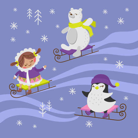 PENGUIN SLED Alaska Girl Winter Holiday Comic Funny Animal Flat Design Cartoon Hand Drawn Vector Illustration Set For Print