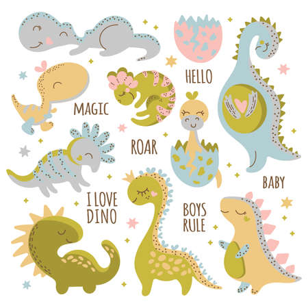 BABY DINO CHARACTERS Birthday Flat Design Hand Drawn Cartoon Cute Animal Vector Illustration Clip Art Set For Print
