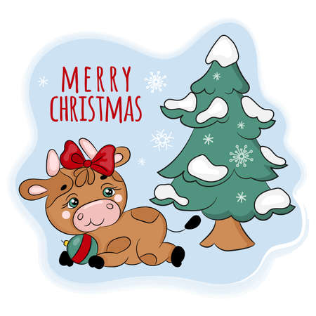 COZY BULL UNDER THE CHRISTMAS TREE Cute New Year Merry Christmas Cartoon Holiday Hand Drawn Vector Illustration Set For Print