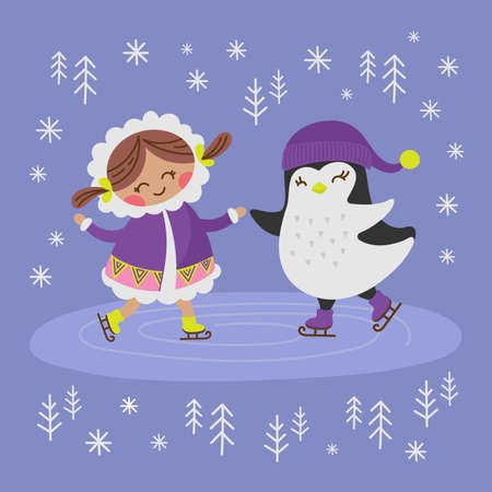 ESKIMO GIRL AND PENGUIN Alaska Winter Holiday Comic Funny Animal Flat Design Cartoon Hand Drawn Vector Illustration Set For Print Illusztráció
