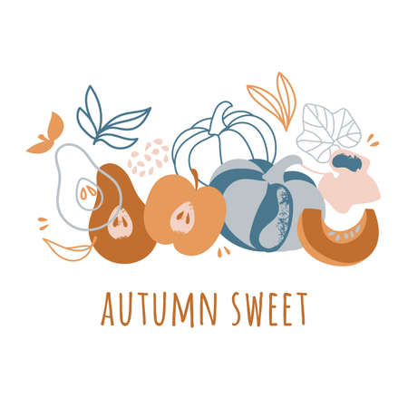 AUTUMN SWEET Delightful Garden Fruits Nature Hand Drawn Flat Design Vector Illustration For Print Illusztráció
