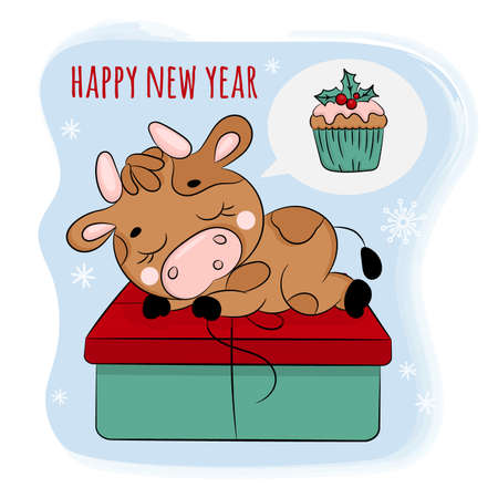 BULL 2021 DREAMS OF A CHRISTMAS PRESENT Cute New Year Merry Christmas Cartoon Holiday Hand Drawn Vector Illustration Set For Print Illusztráció