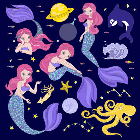 MERMAID IN SPACE Cartoon Cosmos Galactic Princess Journey Traveling Clip Art Vector Illustration Set For Print Illusztráció