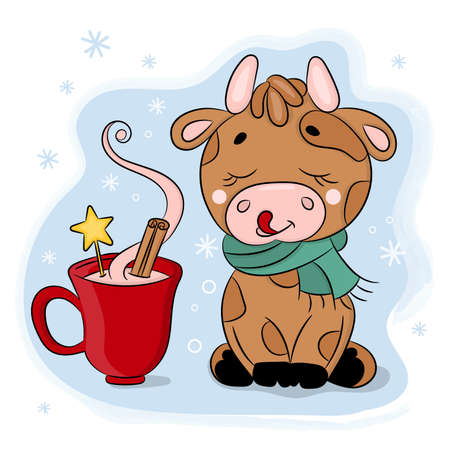 CUTE CARTOON BULL WITH CUP OF CHOCOLATE New Year Merry Christmas Holiday Hand Drawn Animal Vector Illustration Set For Print