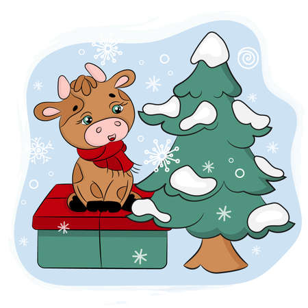 CUTE BULL WITH GIFT AND CHRISTMAS TREE New Year Merry Christmas Cartoon Holiday Vacation Cute Animal Vector Illustration Set For Print