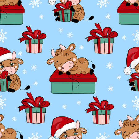 BULL AND GIFT New Year Merry Christmas Cartoon Holiday Hand Drawn Cute Animal Seamless Pattern Vector Illustration For Print