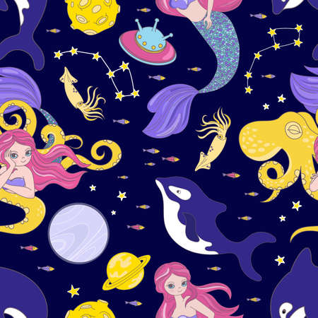 OCTOPUS SPACE Cartoon Cosmos Sea Animal Galactic Princess Girl Universe Journey Traveling Seamless Pattern Vector Illustration For Print