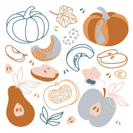 GIFTS OF AUTUMN Fall Garden Vegetables And Fruits Nature Hand Drawn Flat Design Cartoon Clip Art Vector Illustration For Print