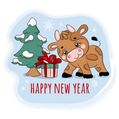 2021 BULL FOUND A GIFT New Year Merry Christmas Cartoon Holiday Vacation Cute Animal Clip Art Vector Illustration Set For Print Illusztráció