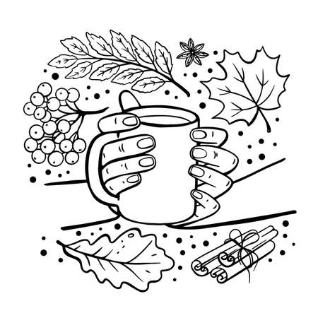 AUTUMN MUG IN HANDS Fall Garden Nature Hand Drawn Flat Design Cartoon Monochrome Clip Art Vector Illustration Set For Print
