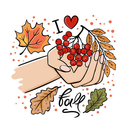 HAND WITH ROWAN BRANCH AND AUTUMN LEAVES Fall Garden Nature Girl Hand Cartoon Clip Art Vector Illustration Set For Print