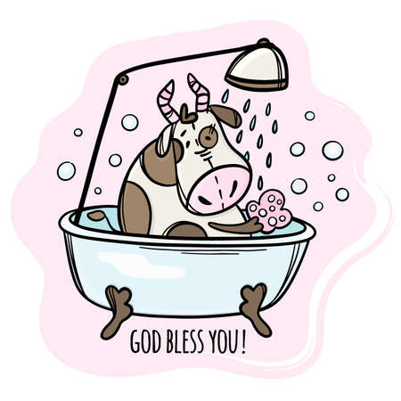 COW IS WASHED IN BATH New Year Merry Christmas Cartoon Holiday Vacation Cute Animal Hand Drawn Clip Art Vector Illustration Set For Print