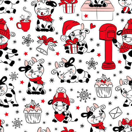 BULL CHRISTMAS 2021 New Year Merry Christmas Cartoon Holiday Hand Drawn Cute Animal White Seamless Pattern Vector Illustration For Print