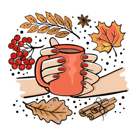 GIRL HOLDING MUG OF TEA IN HER HANDS Autumn Fall Garden Nature Hand Drawn Cartoon Clip Art Vector Illustration Set For Print