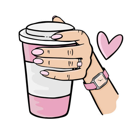 GIRL HOLDING A PINK CUP OF COFFEE Hand Drawn Elements Cartoon Clip Art Vector Illustration Set For Print