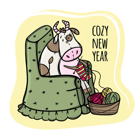 COW KNITS AND WISHES A COZY NEW YEAR Merry Christmas Cartoon Holiday Vacation Cute Animal Hand Drawn Clip Art Vector Illustration Set For Print