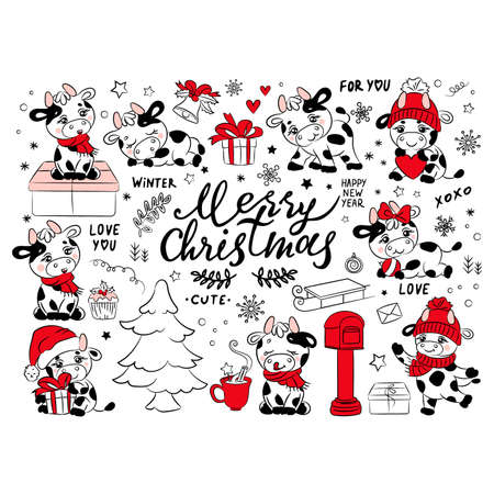 BULL CHRISTMAS COLLECTION New Year Merry Christmas Cute Animal Cartoon Holiday Vacation Winter Hand Drawn Clip Art Vector Illustration Set For Print