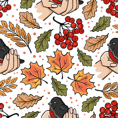 BULLFINCH IN HANDS Autumn Fall Nature Season Forest Bird Floral Cartoon Seamless Pattern Vector Illustration For Print