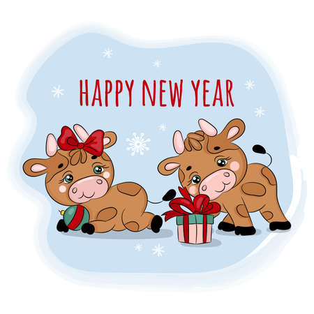 BULLS 2021 CHRISTMAS GIFTS New Year Merry Christmas Cartoon Holiday Vacation Cute Animal Hand Drawn Clip Art Vector Illustration Set For Print