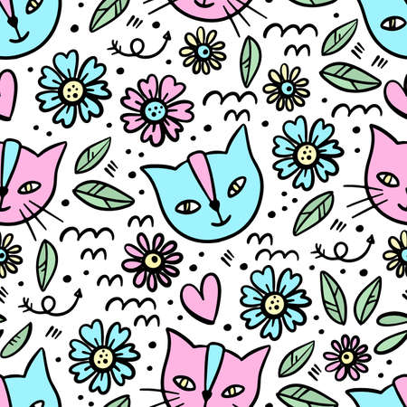 KITTEN FLOWER Hand Drawn Children Sketch Valentine Day Love Floral Flower Cartoon Cute Animal Seamless Pattern Vector Illustration For Print Illusztráció