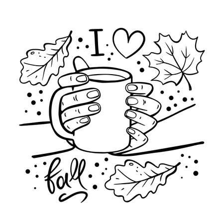 GIRL HOLDING MUG OF COFFEE In Her Hands Autumn Fall Garden Nature Hand Drawn Cartoon Monochrome Clip Art Vector Illustration Set For Print